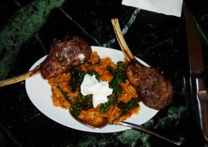 Lamb Chops from Colorado, Risotto, goats cheese. Unreal tastes!