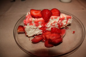 New York Cheesecake and strawberries. Terrific!