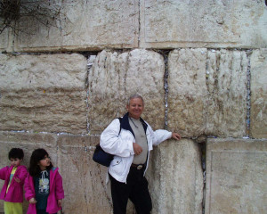 israel bob at the Western Wall of Jerusalems old temple.