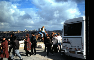 Israel tourist bus disgorges visitors from around the world to be where true history still lives on!