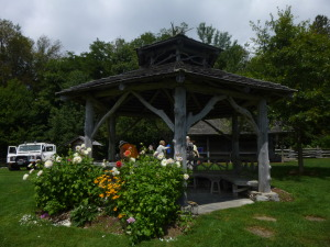 A crafted wood cut gazebo by the Architect who did the New York natural wood work in Central Park.