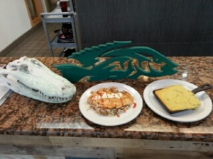 Lake Okeechobee themed Tin Fish offers spectacular salmon dishes and offers Jalapeno corn bread too!