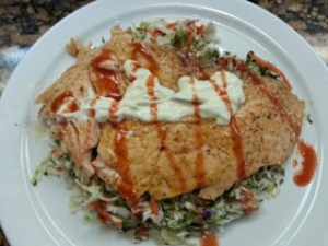 Salmon with homemade slaw and fixin's!