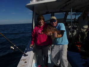 One more of our over 40 grouper we released. Barbs wrist held out against the pull of these big mouthed, beautiful rock and reef holding fish.