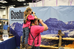 Dad and daughter enjoying time together at the Archery Trade Show in Indianapolis.