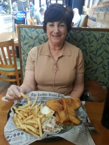 Barb was in the mood to have a fried fish platter.