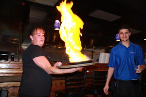 Flaming brandy on cheese! Delicious once the fire was out! Loved this appetizer!
