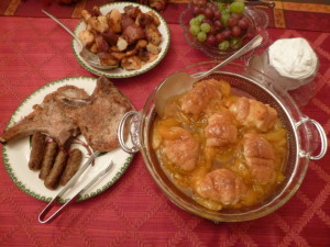 And eggs too! Stuffed Croissants with delicious peaches, incredible pork chops, taters with out of the garden Rosemary.