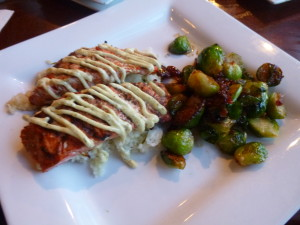 Salmon and sauteed Brussel,Sprouts at Swamper's Restaurant in the lobby area of the Marriott!