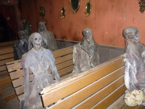 At one of the spooky church spots you pass by and best to wear a diaper, the whole place is so realistic you may need some bottom-end backup!