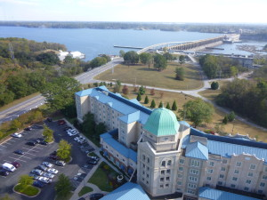 A view from the tower towards Pickwick Lake. This Marriott Hotel was excellent in every way!