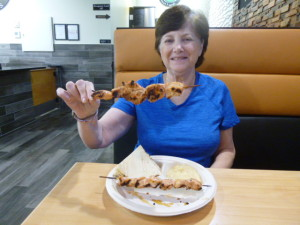 Barb and her order of chicken kabobs!