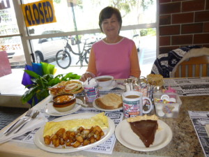 Barbs favorite pose-about to chow-down on really great, home-made dishes!
