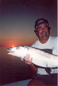 Bob's 17-pound bonefish caught with Richard Stanczyk, owner of Bud N Mary's Marina in Islamorada. The fish was appx. 39-inches and probably on 8-pound spin a record. However, we released the fish after this image was taken.