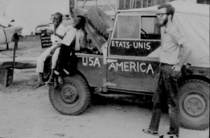 Gene waits for me to take a picture with my little Brownie Camera. Our 55-Land Rover always attracted attention. Not to surprise anyone we had to paint that we were student from the U.S. in English and French, not military guys!