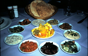 A variety of Middle Eastern vegetarian specialty dishes. Had to go to Israel to try these! The chef was Lebanese the Waiter was Jordanian, and the food was unreal goo!