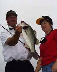 Barb knows how to wrestle with big bass too! This fish was caught in Northern California!!