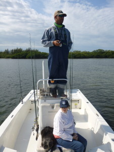 Standing up high on the console gives the Captain a better view of the fish on the flats!