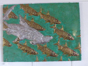 Gorgeous wall decor at the Fishery Restaurant!
