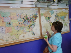 The pins in the maps represent visitors from the US and the world that have visited the ice cream shop and Laishley Park!