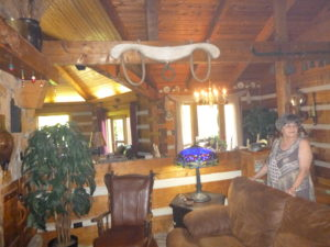 Nina Gilbert showed us around the main, incredibly designed and furnished lodge home.