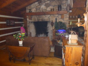 Barb marveled at the walk-in size fireplace designed to heat the entire main lodge room!