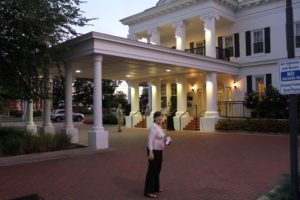 Barb about to enter the vintage as well as newly remodeled Historic Boone Tavern Hotel & restaurant at Berea College in Berea, KY.