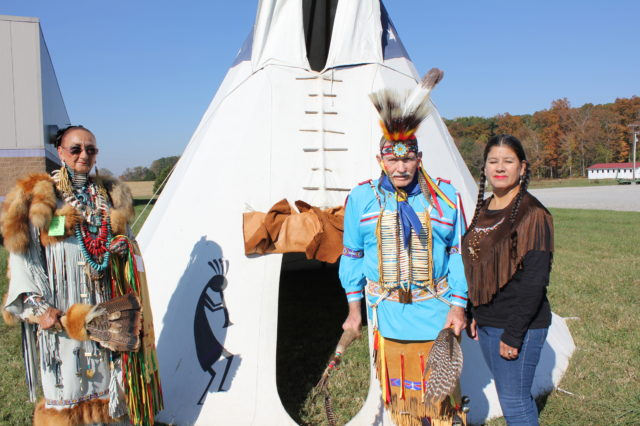 Left to right_ Spider Woman, Spirit Hawk Bob and Awano, our new friends at the Pow Wow.